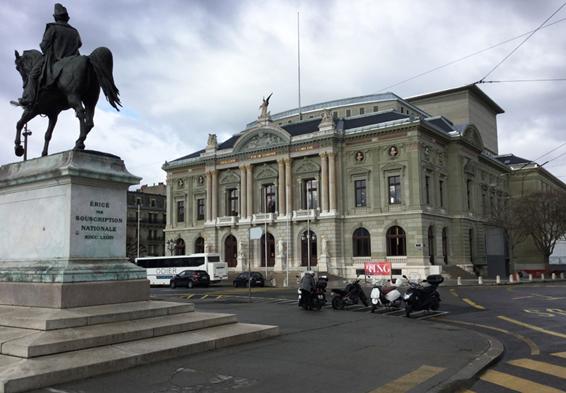 Grand Théâtre de Genève, Place Neuve Dufour statue équestre
